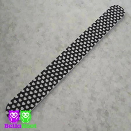 Nail File Black with White Hearts