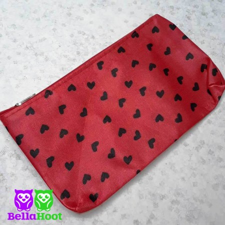 Cosmetic Bag - Red with Black Hearts