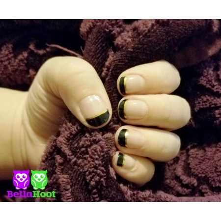 Sheer French Tip Black and Gold